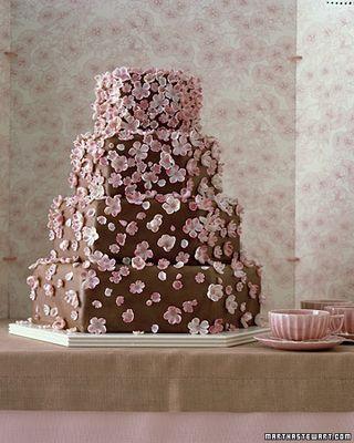 Plain White Cherry Blossoms Cake